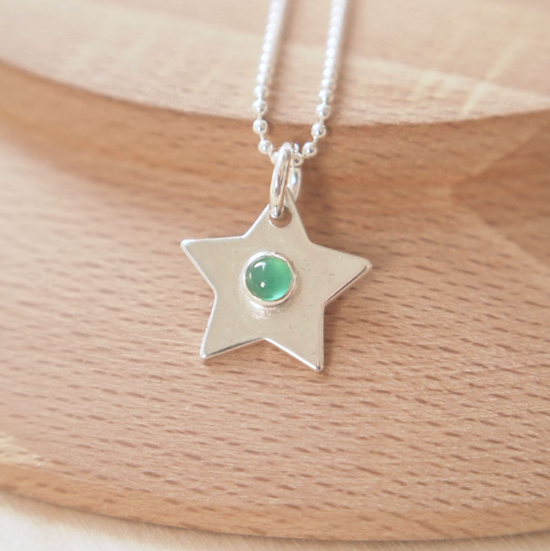 Sterling Silver Star with Green Agate for May Birthstone