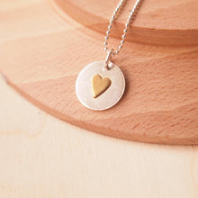 Load image into Gallery viewer, Silver Circle and Heart Pendant with Brass