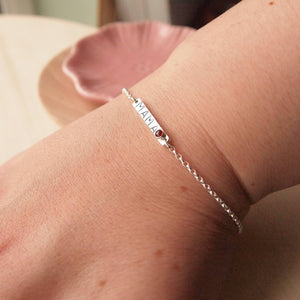Silver Bar bracelet with 'handstamped 'mama' and birthstone