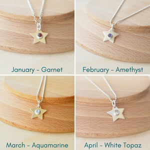 Birthstone Star necklaces showing January, February March and April Birthstones