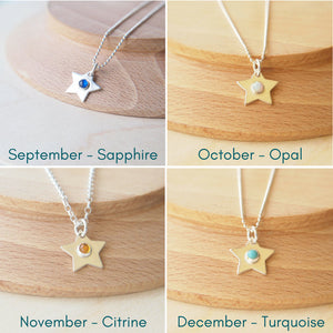 Silver Birthstone Star necklaces showing September, October, November and December Birthstones