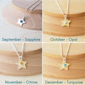 collage showing September, October, November and December Birthstone Star pendants
