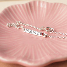 Load image into Gallery viewer, sterling silver bar bracelet with handstamped 'mama' and birthstone (garnet)
