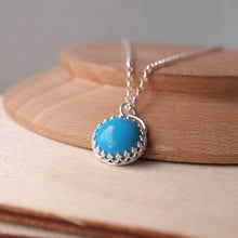 Load image into Gallery viewer, Silver and Turquoise Pendant Necklace with a filigree design setting