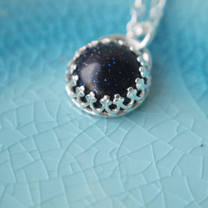 Navy Blue and Silver Gemstone Pendant