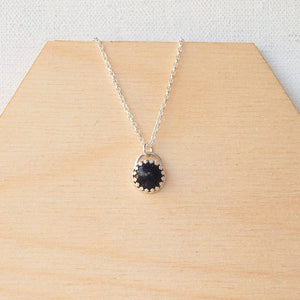 Blue Goldstone Pendant on belcher chain