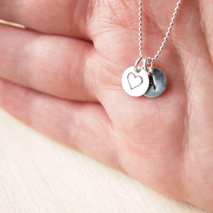 double monogram pendant with heart and initial discs
