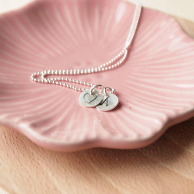 Initial Double Disc Charm Necklace