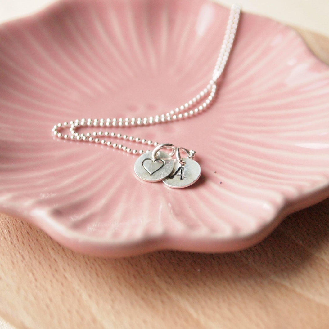 Sterling Silver Initial pendant with heart