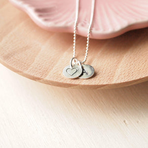 Heart and initial double disc pendant n Sterling Silver