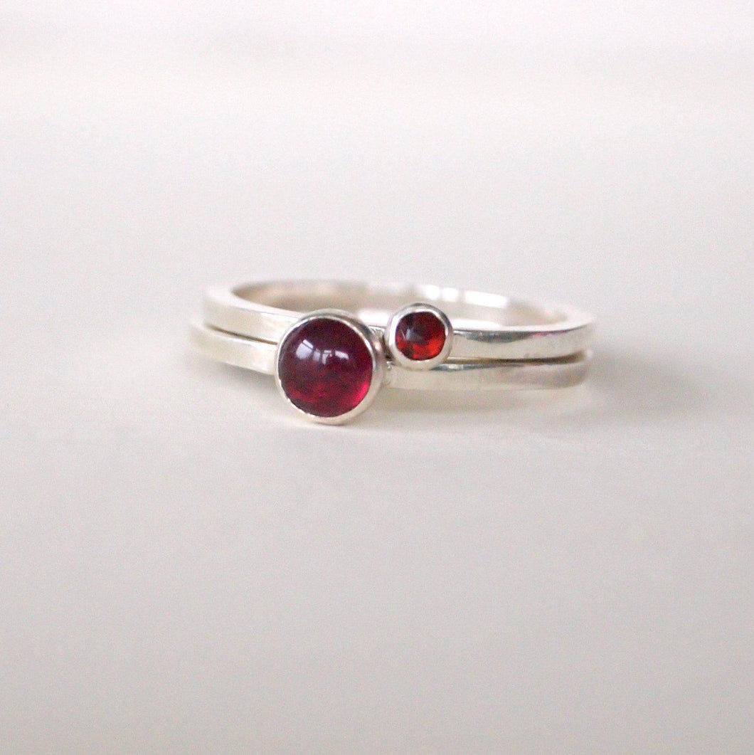 garnet stacking ring duo set