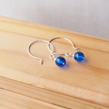 Load image into Gallery viewer, Silver and Blue Hoop Earrings