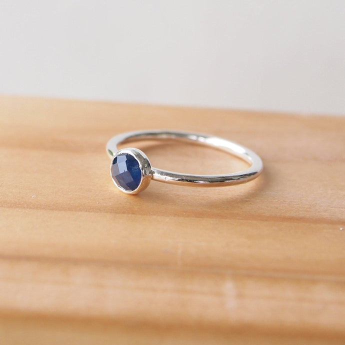 Sapphire Facet Cut ring in Sterling SIlver