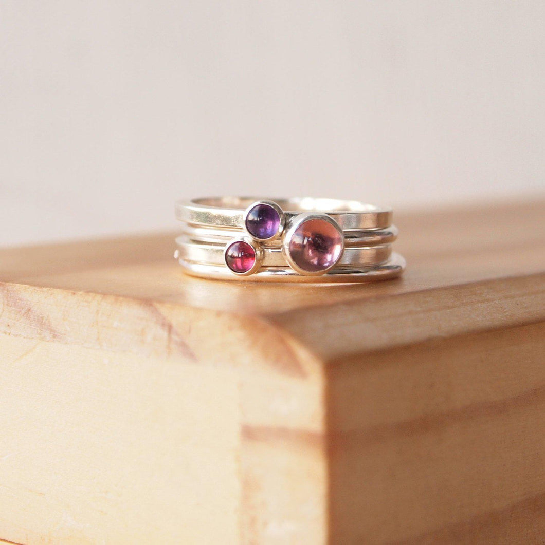 Pink Tourmaline, Garnet and Amethyst Stacking Ring Set