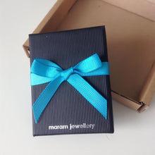 Load image into Gallery viewer, maram jewellery gift box, black with a hand tied turquoise ribbon
