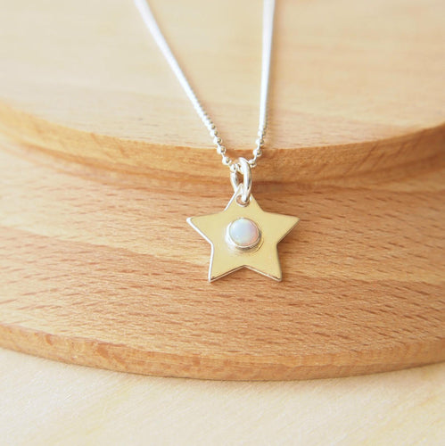 Lab Opal and silver Birthstone Star pendant