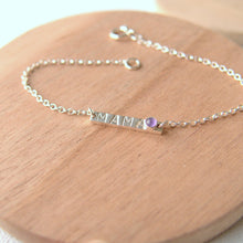 Load image into Gallery viewer, Silver Bar bracelet with 'handstamped 'mama' and birthstone