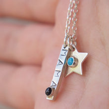 Load image into Gallery viewer, Silver necklace with bar stamped 'mama' and bithstone with additional star pendants with birthstone centres