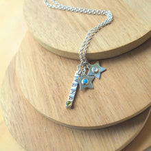 Load image into Gallery viewer, Mama stamped silver bar with birthstone and additional star pendants with different birthstones
