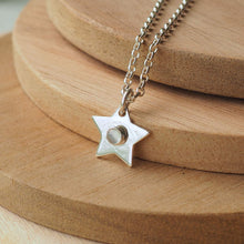 Load image into Gallery viewer, Silver Star Pendant with Moonstone centre
