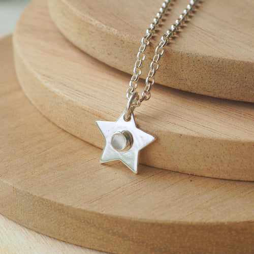 Moonstone Birthstone Star pendant in Sterling SIilver
