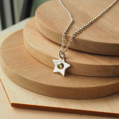 Peridot and Sterling Silver birthstone star pendant for August birthday