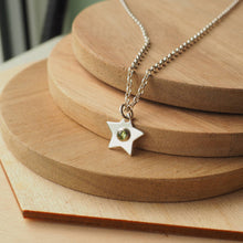 Load image into Gallery viewer, Silver Star Pendant with Peridot centre