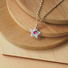 Load image into Gallery viewer, Silver Star Pendant with Lab Ruby centre
