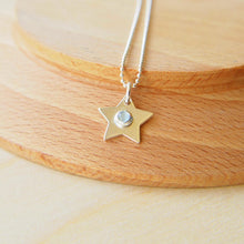Load image into Gallery viewer, Silver Star Pendant with Aquamarine centre