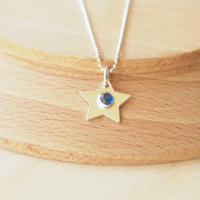 Load image into Gallery viewer, Silver Star Pendant with Lab Sapphire centre