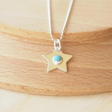 Load image into Gallery viewer, Silver Star Pendant with Turquoise centre