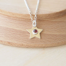 Load image into Gallery viewer, Silver Star Pendant with garnet centre
