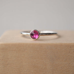 Pink tourmaline ring with a 5mm light pink gemstone