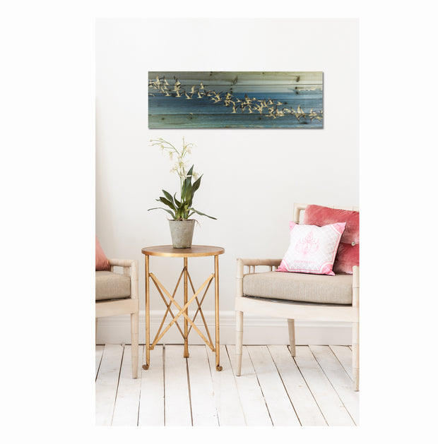 """Birds in Flight"" Print on Planked Wood Wall Art 1"