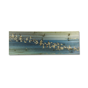 """Birds in Flight"" Print on Planked Wood Wall Art"