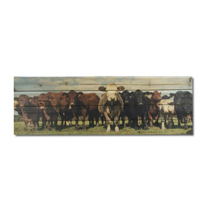 """""""Cow Herd"""" Print on Planked Wood Wall Art"""