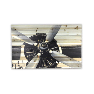 """Vintage Airplane Close Up"" Print on Planked Wood Wall Art"