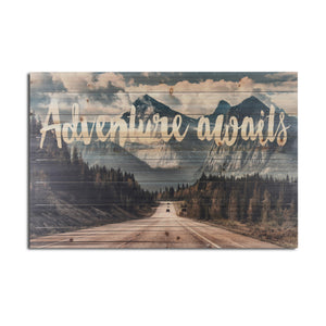"""Adventure Awaits Mountains"" Print on Planked Wood Wall Art"