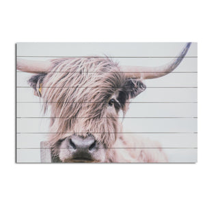 """Highland Cow"" Print on Planked Wood Wall Art"