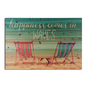 """Happiness Comes in Waves"" Print on Planked Wood Wall Art"