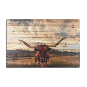 """Longhorn"" Print on Planked Wood Wall Art"