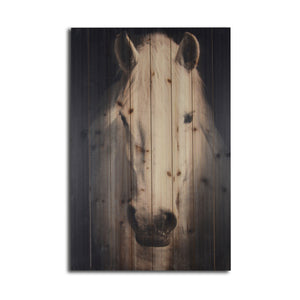 """Horse on Black Background"" Print on Planked Wood Wall Art"
