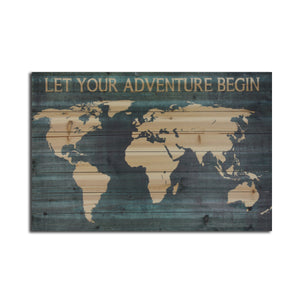 """""""Let Your Adventure Begin Map"""" Print on Planked Wood Wall Art"""