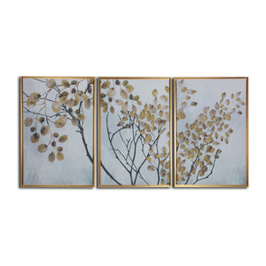 """Asian Branches"" Floating Framed Print on Canvas Triptych Wall Art"