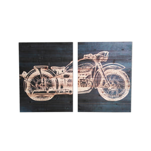 """Motorcyle Diptych"" Print on Planked Wood Wall Art"