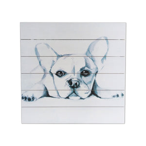 """Cute Pup Sketch"" Print on Planked Wood Wall Art"