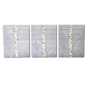 """Birch Trees"" Set of 3 Print on Planked Wood Wall Art"