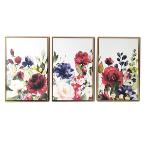 """Floral Garden"" Triptych Floating Canvas Wall Art"