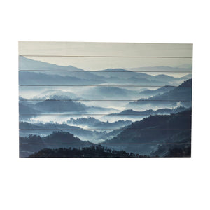 """Misty Blue Mountains"" Print on Planked Wood Wall Art"