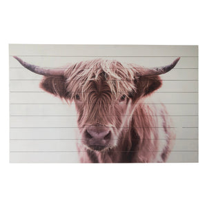 """Brown Highland Cow Large"" Print on Planked Wood Wall Art"